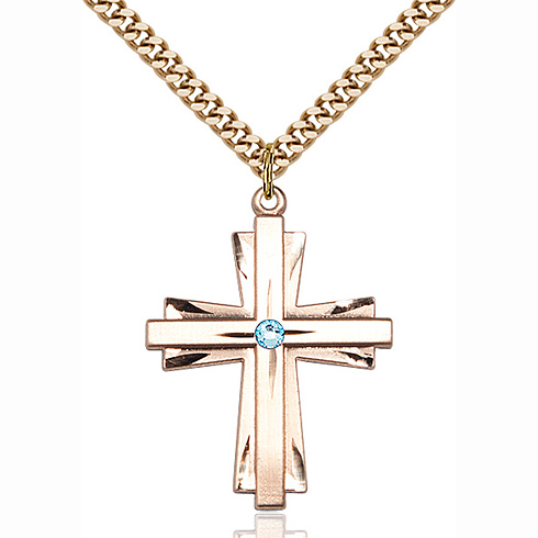 Gold Filled 1 1/4in Cross Pendant with 3mm Aqua Bead & 24in Chain