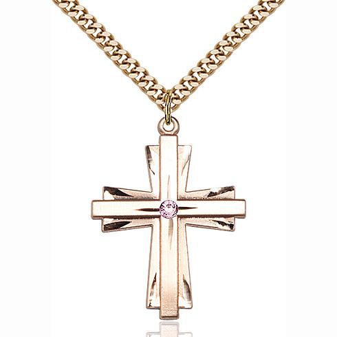Gold Filled 1 1/4in Bi-Level Cross Light Amethyst Bead & 24in Chain