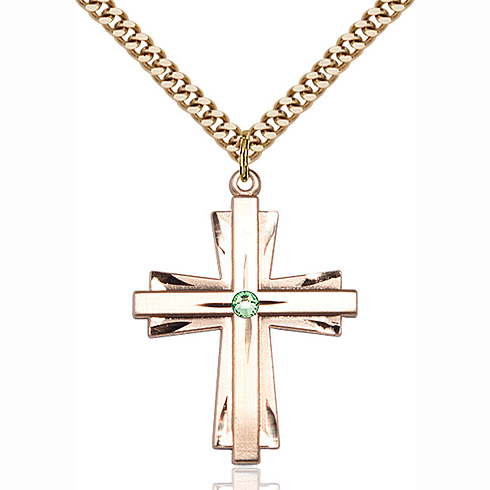 Gold Filled 1 1/4in Cross Pendant with 3mm Peridot Bead & 24in Chain