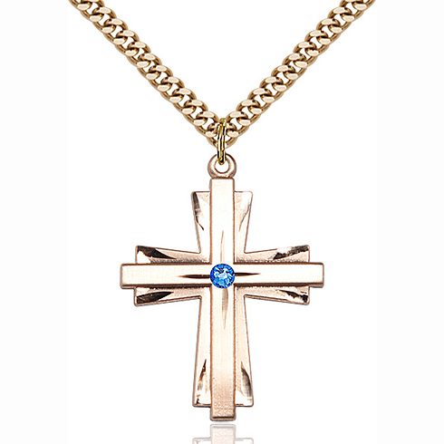 Gold Filled 1 1/4in Cross Pendant with 3mm Sapphire Bead & 24in Chain