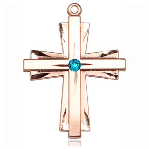 14kt Yellow Gold 1 1/4in Cross Pendant with 3mm Zircon Bead