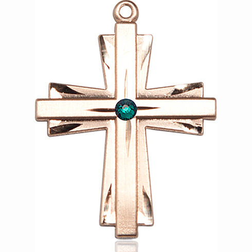 14kt Yellow Gold 1 1/4in Cross Pendant with 3mm Emerald Bead