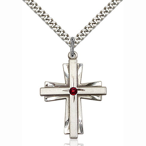 Sterling Silver 1 1/4in Bi-level Cross with Garnet Bead & 24in Chain