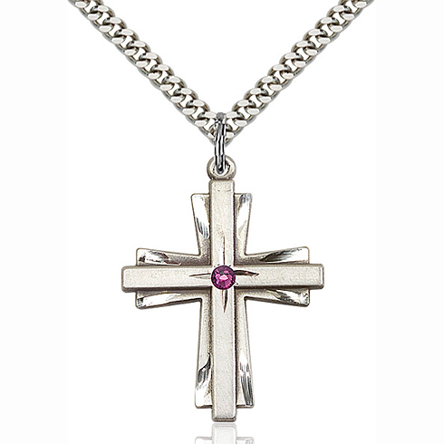 Sterling Silver 1 1/4in Bi-level Cross with Amethyst Bead & 24in Chain