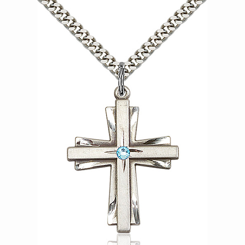 Sterling Silver 1 1/4in Cross Pendant with 3mm Aqua Bead & 24in Chain