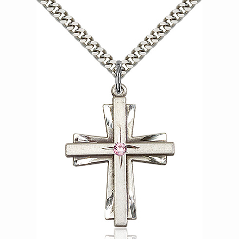 Sterling Silver 1 1/4in Cross Pendant with 3mm Light Amethyst Bead & 24in Chain