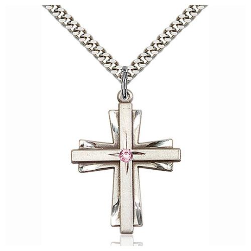 Sterling Silver 1 1/4in Cross Pendant Light Amethyst Bead & 24in Chain