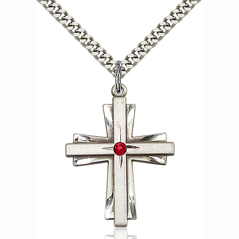 Sterling Silver 1 1/4in Cross Pendant with 3mm Ruby Bead & 24in Chain