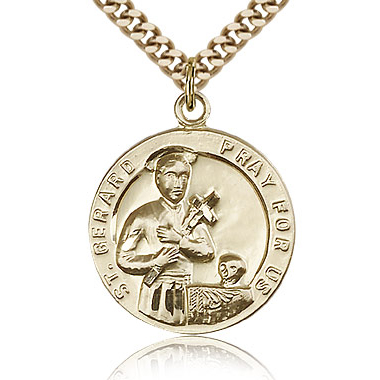Gold Filled 7/8in St Gerard Medal & 24in Chain