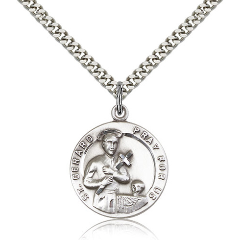 Sterling Silver 7/8in Round St Gerard Medal & 24in Chain