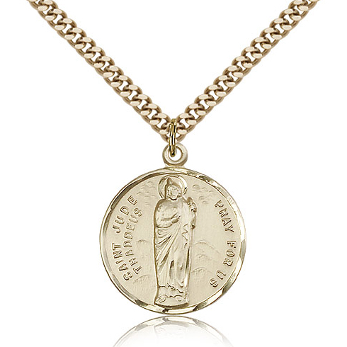 Gold Filled 7/8in Round St Jude Medal & 24in Chain