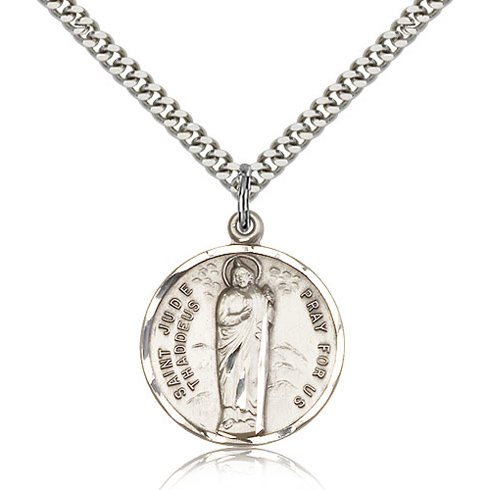Sterling Silver 7/8in Round St Jude Medal & 24in Chain