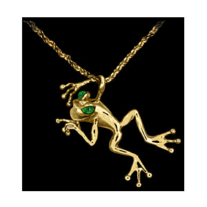 14KT Gold Frog Pendant with Emerald Eyes