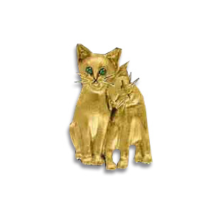 14kt Yellow Gold 1in Cat Pals Pendant with Emerald Eyes