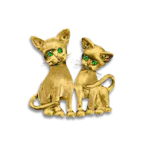 14kt Yellow Gold 1in Kitten Duet Pendant with Emerald Eyes