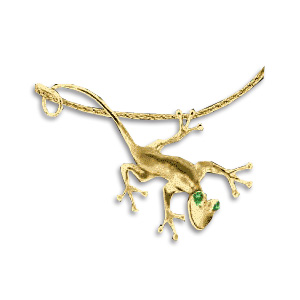 14k Yellow Gold Lizard Pendant with Emerald Eyes