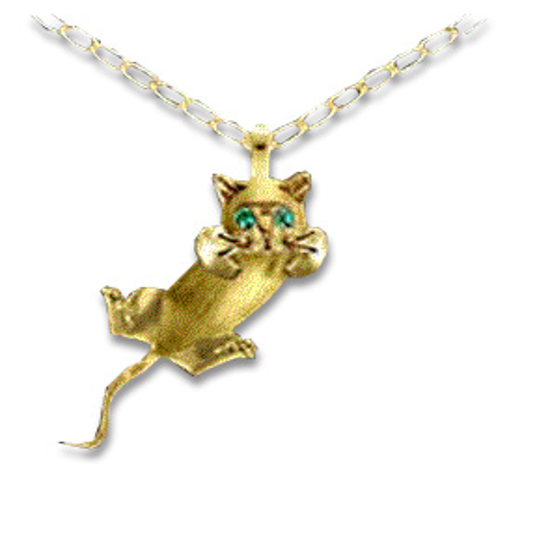 14kt Yellow Gold Body Swivels Kitten with Emerald Eyes