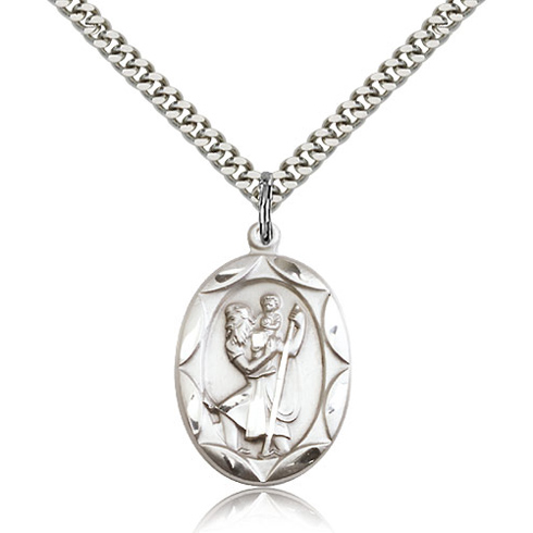 Sterling Silver 1in St Christopher Medal & 24in Chain