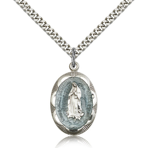 9c59a4013bf Sterling Silver 1in Oval Blue Our Lady of Guadalupe Medal & 24in Chain  0801EFSS/24S