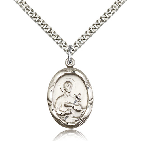 Sterling Silver 1in Oval St Gerard Medal & 24in Chain