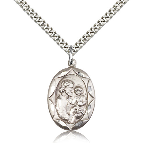 Sterling Silver 1in St Joseph Medal & 24in Chain