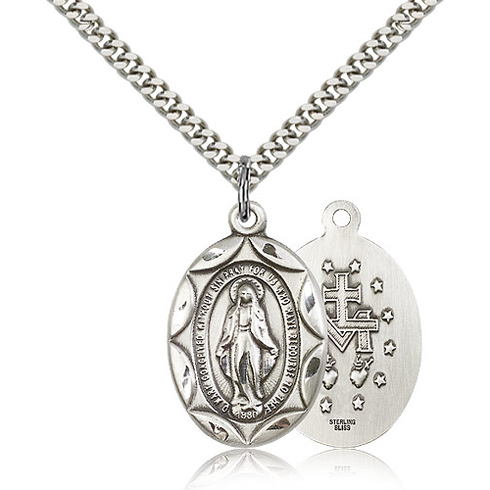 Sterling Silver 1in Miraculous Medal & 24in Chain