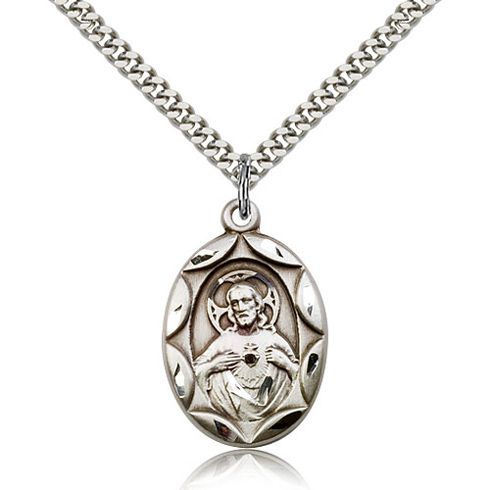 Sterling Silver 1in Oval Scapular Medal & 24in Chain