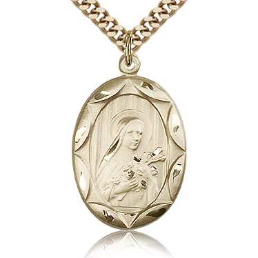 Gold Filled 1in Plain St Theresa Medal & 24in Chain
