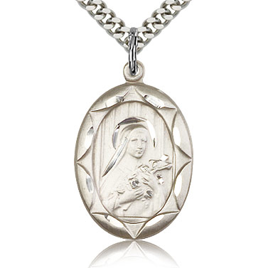 Sterling Silver 1in Oval St Theresa Medal & 24in Chain