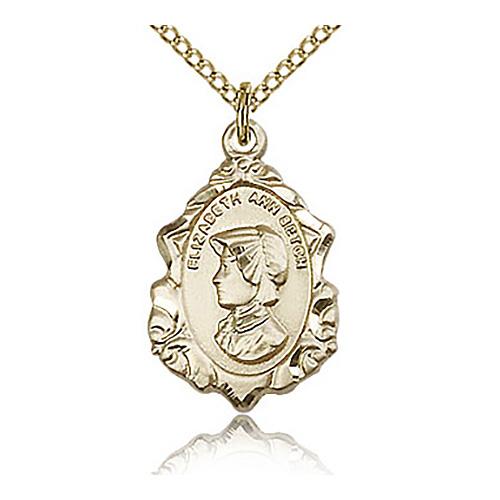Gold Filled 3/4in St Elizabeth Medal & 18in Chain