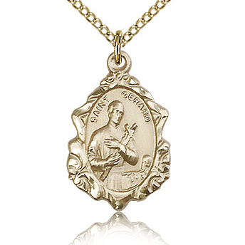 Gold Filled 3/4in St Gerard Medal & 18in Chain