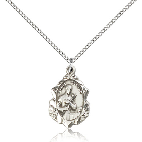 Sterling Silver 3/4in Ornate St Gerard Medal & 18in Chain