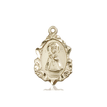 14kt Yellow Gold 3/4in Ornate Infant of Prague Medal