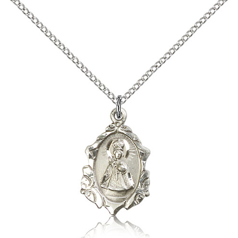 Sterling Silver 3/4in Ornate Infant of Prague Medal & 18in Chain