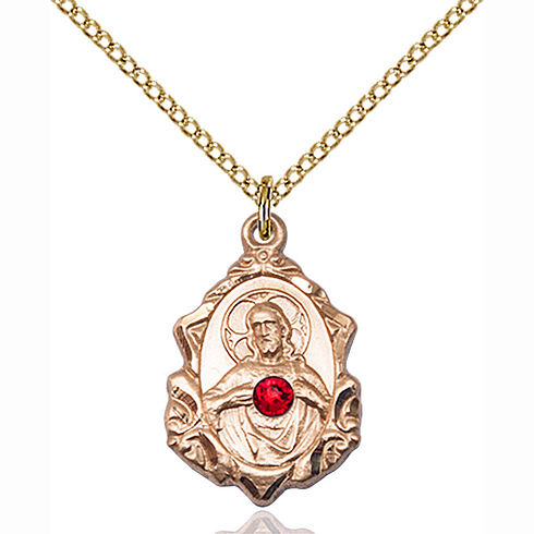 Gold Filled 3/4in Scapular Pendant with 3mm Ruby Bead