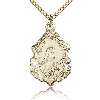 Gold Filled 3/4in St Theresa Of the Child Jesus Medal & 18in Chain