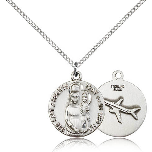 Sterling Silver 3/4in Lady of Loretto Airplane Medal & 18in Chain