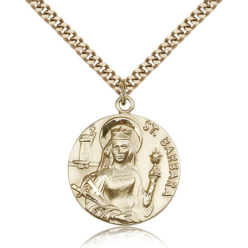 Gold Filled 1in St Barbara Medal & 24in Chain