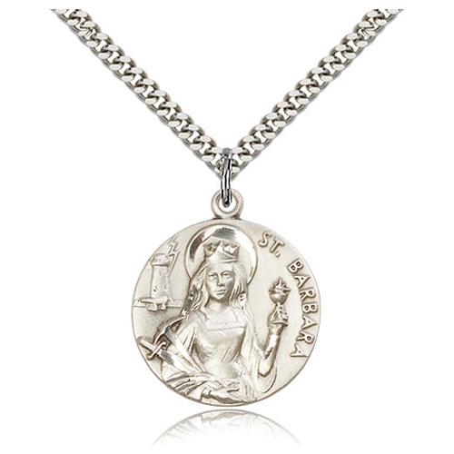 Sterling Silver 1in St Barbara Medal & 24in Chain