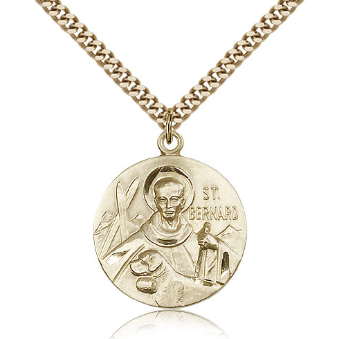 Gold Filled 1in Round St Bernard Medal & 24in Chain