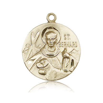 14k Yellow Gold 1in Round St Bernard Medal