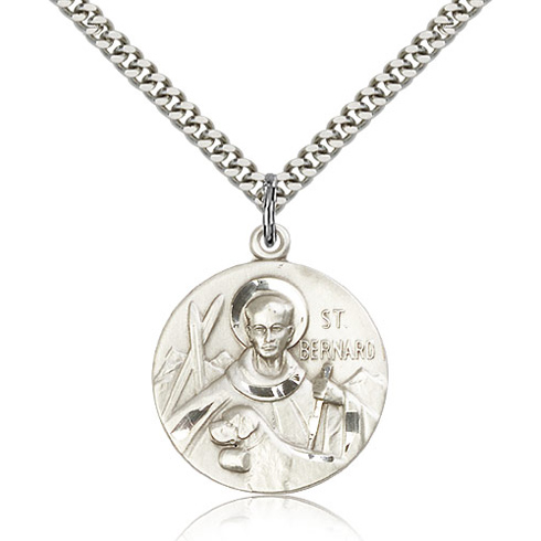 Sterling Silver 1in Round St Bernard Medal & 24in Chain