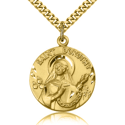 Gold Filled 1in St Dorothy Medal & 24in Chain