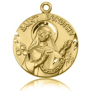 14kt Yellow Gold 1in St Dorothy Medal