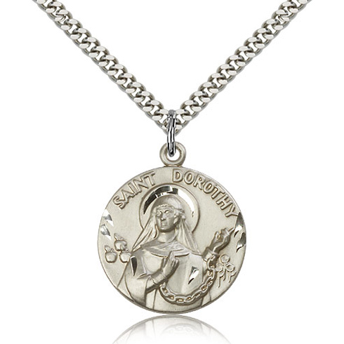 Sterling Silver 1in St Dorothy Medal & 24in Chain
