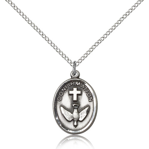Sterling Silver 3/4in Confirmation Medal & 18in Chain