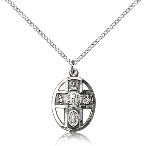 Sterling Silver 3/4in Five Way Communion Medal & 18in Chain
