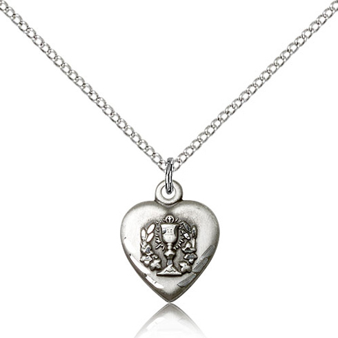 Sterling Silver 5/8in Heart Communion Medal & 18in Chain