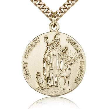 Gold Filled 7/8in St Hubert Medal & 24in Chain