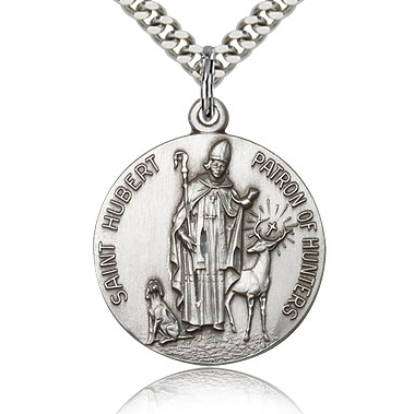 Sterling Silver 7/8in Round St Hubert Medal & 24in Chain